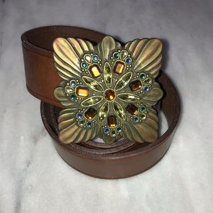 Fossil Vintage Jeweled Leather Belt M